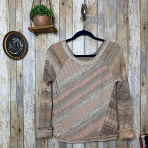 Free People Striped Textured Crew Neck Sweater